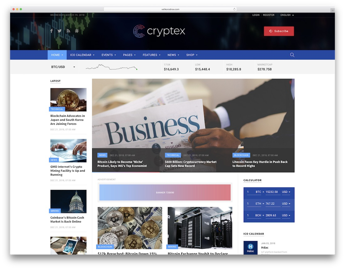 cryptex writer website template