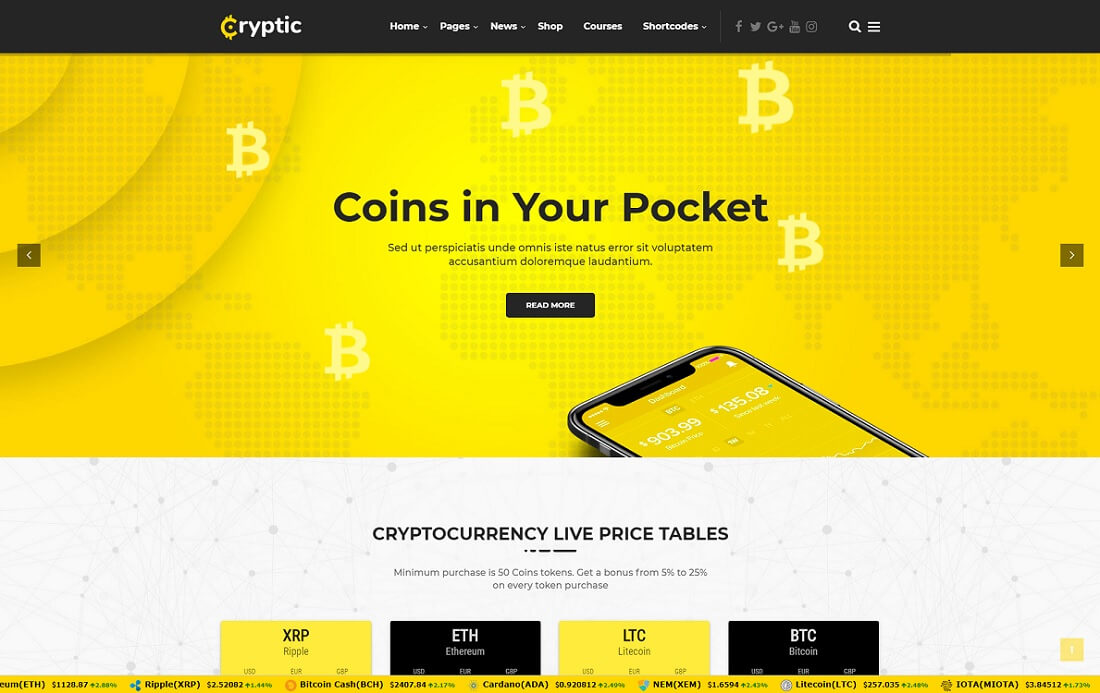 cryptic cryptocurrency wordpress theme