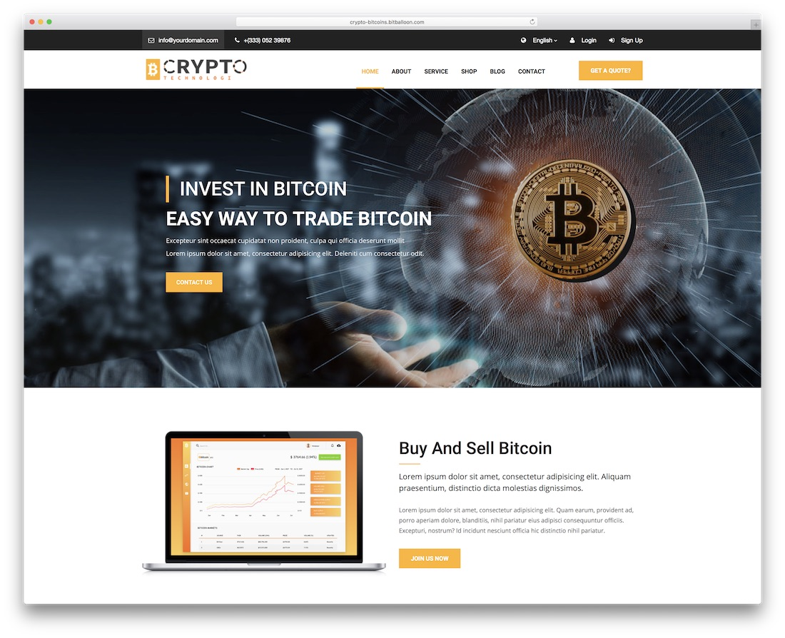 crypto bootstrap business website template