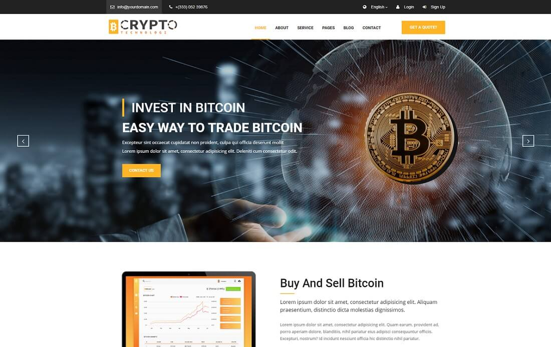 crypto cryptocurrency website template