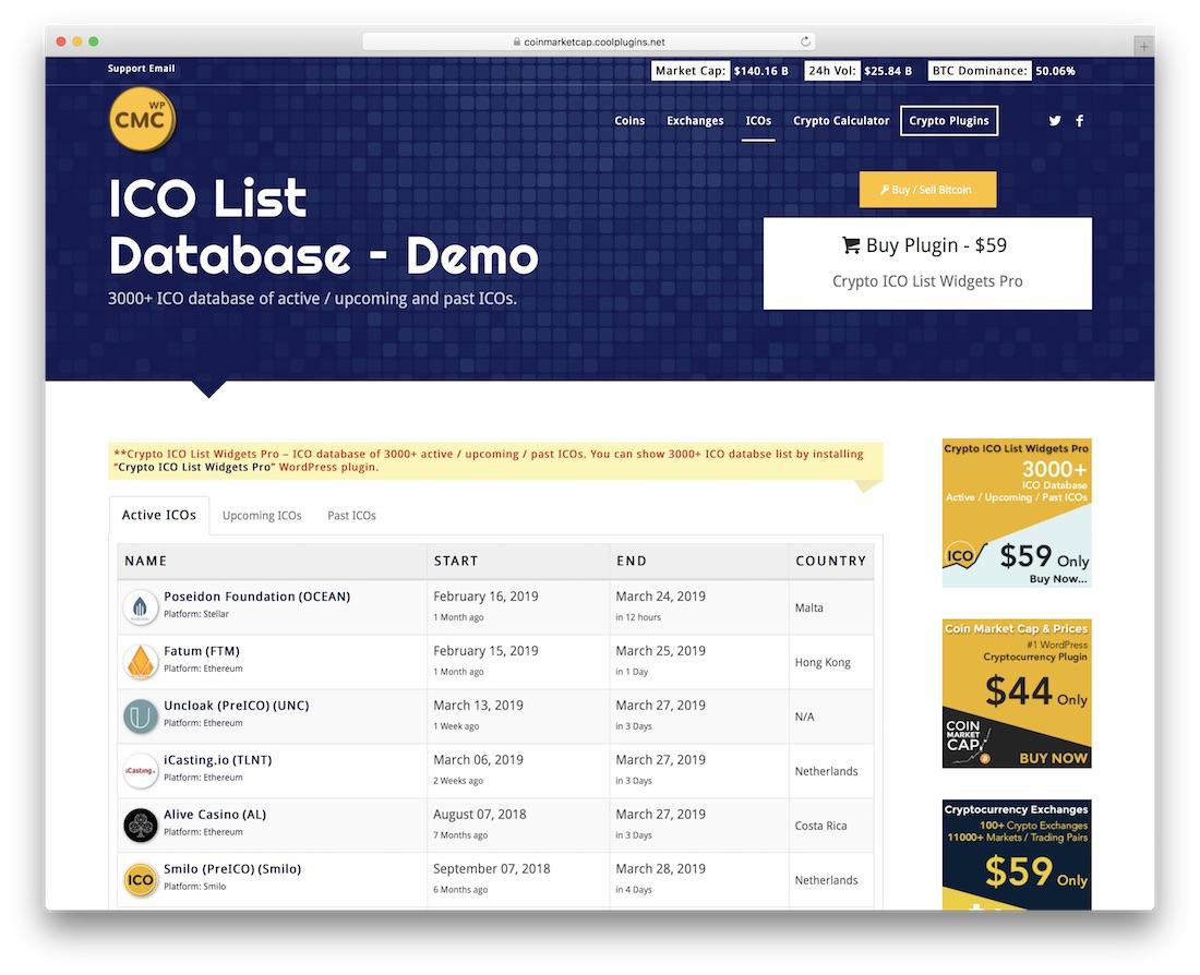 crypto ico list widgets pro