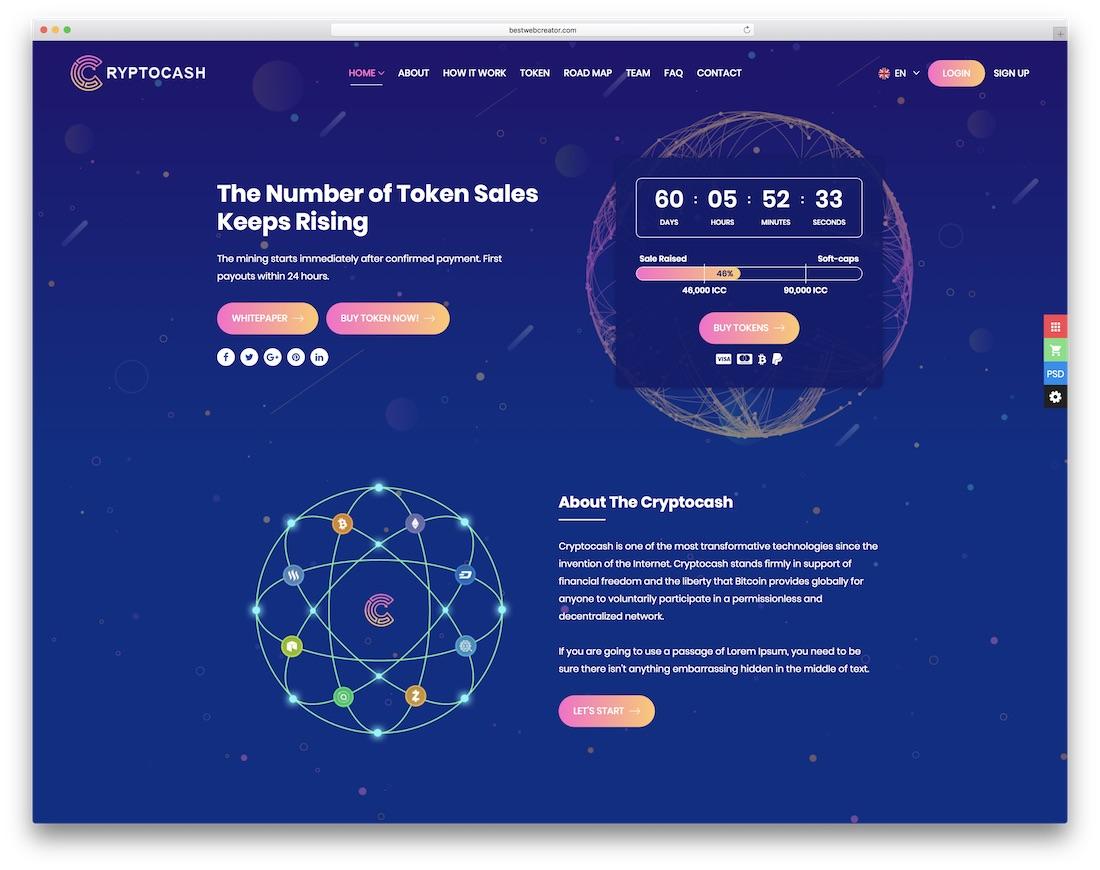 cryptocash interactive website template