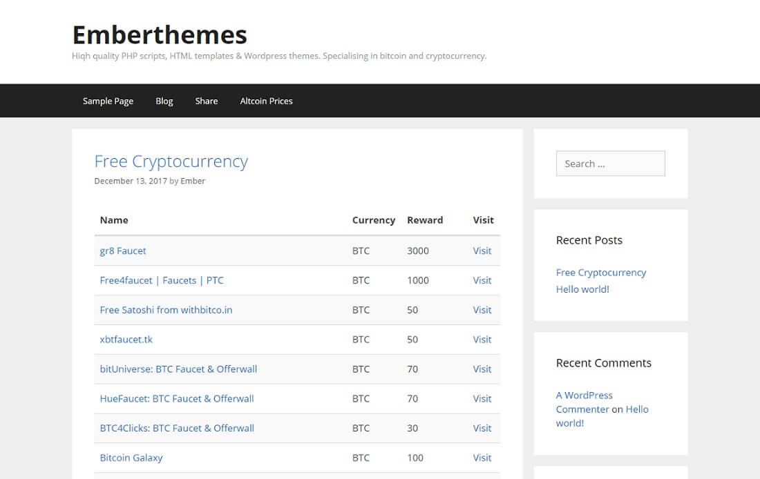 cryptocurrency faucet list for wordpress