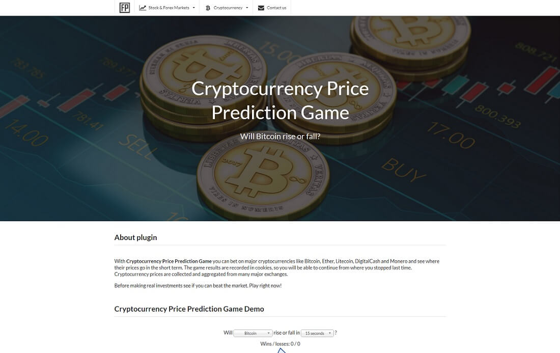 cryptocurrency price prediction game wordpress plugin