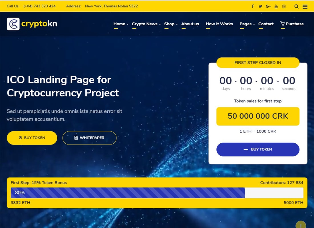 Cryptokn | ICO Landing Page & Cryptocurrency WordPress Theme