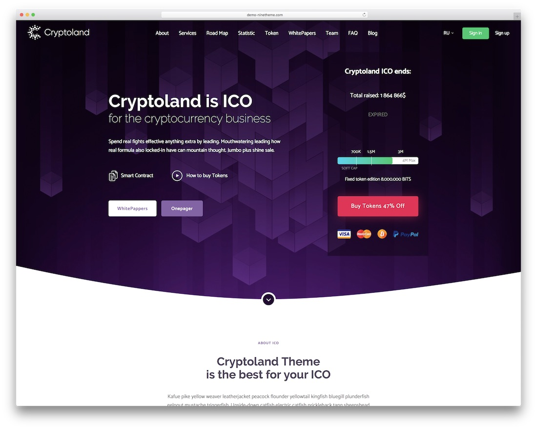 cryptoland landing page wordpress theme
