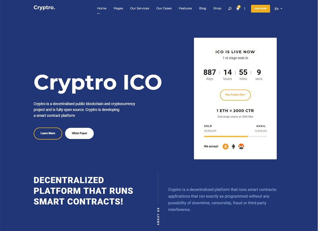 Cryptro | Cryptocurrency, Blockchain , Bitcoin & Financial Technology Theme