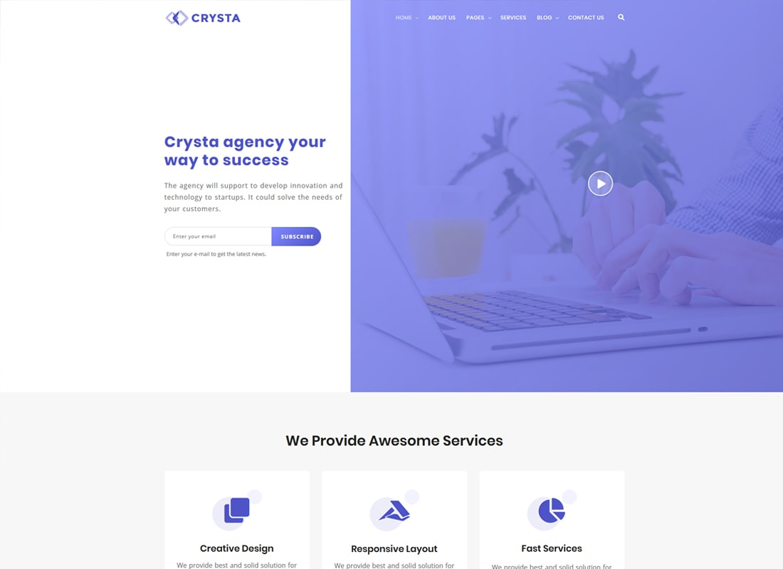 Crysta | Startup Agency and SasS Business WordPress Theme