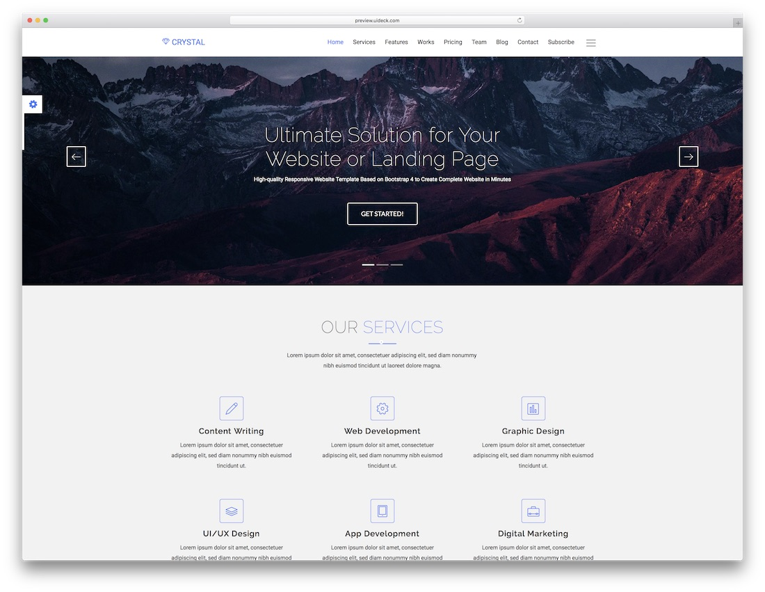 crystal landing page template