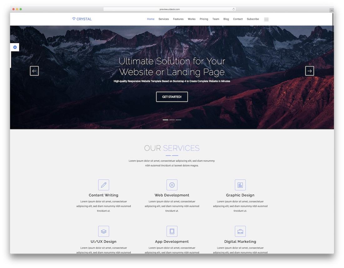 crystal marketing website template