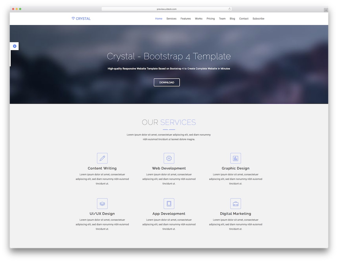 crystal parallax website template