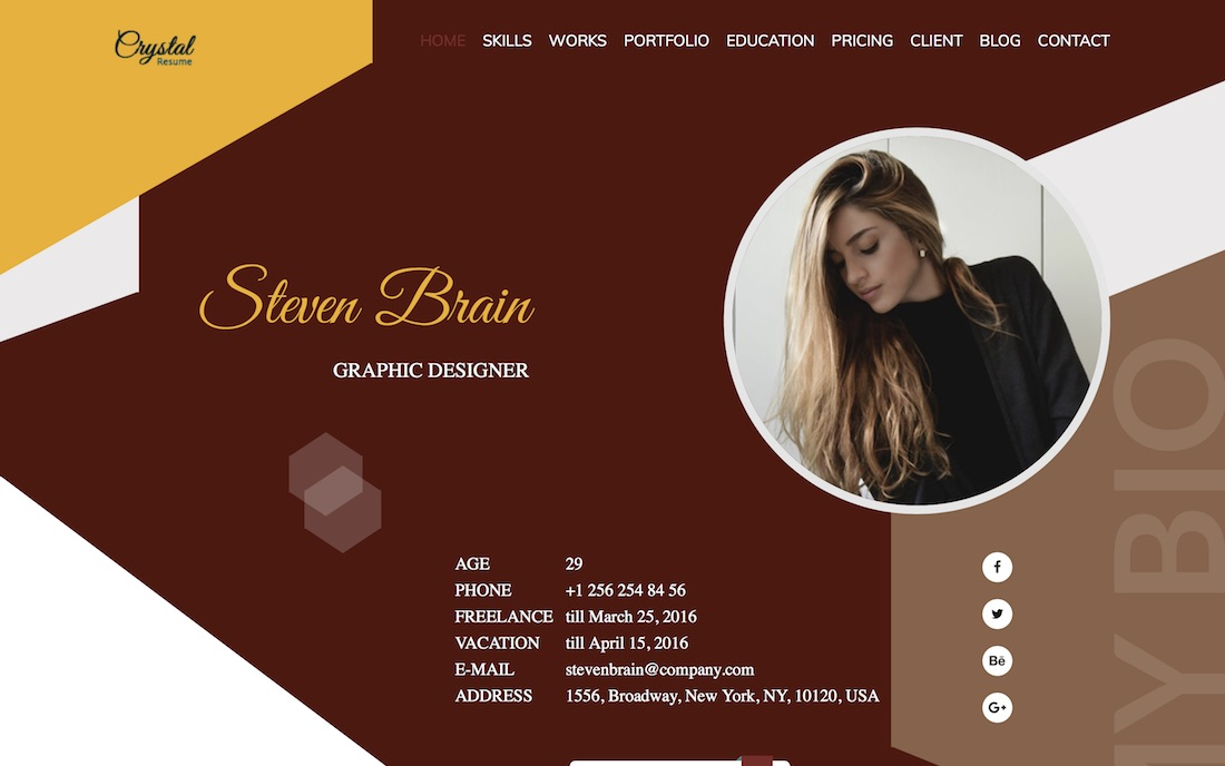 crystal resume website template