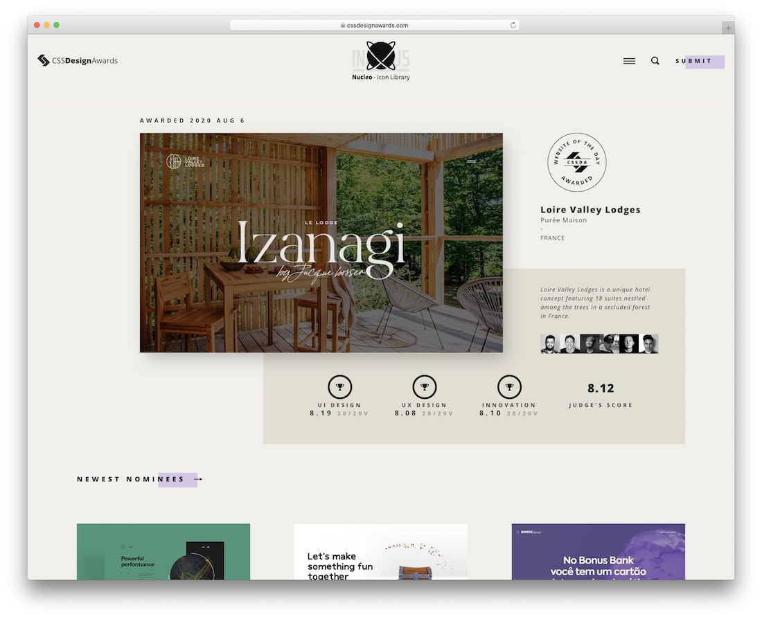 cssdesignawards awards website for web design