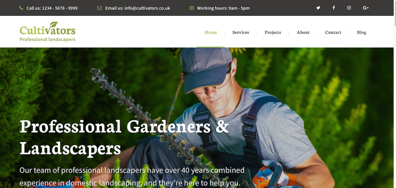 As A Gardening Template, It Takes Hardly Any Effort To Convert Cultivators  Theme Into A Solution For Landscaping Or Construction ...