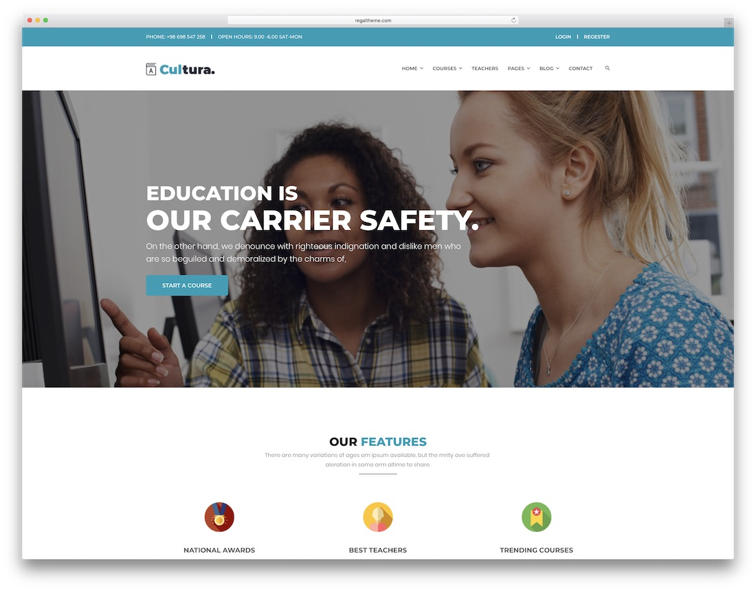 cultura school website template