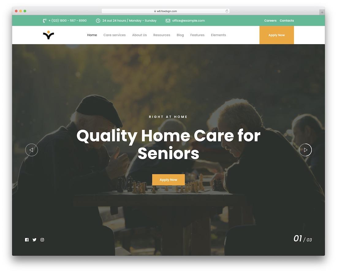 curantis elderly care wordpress theme