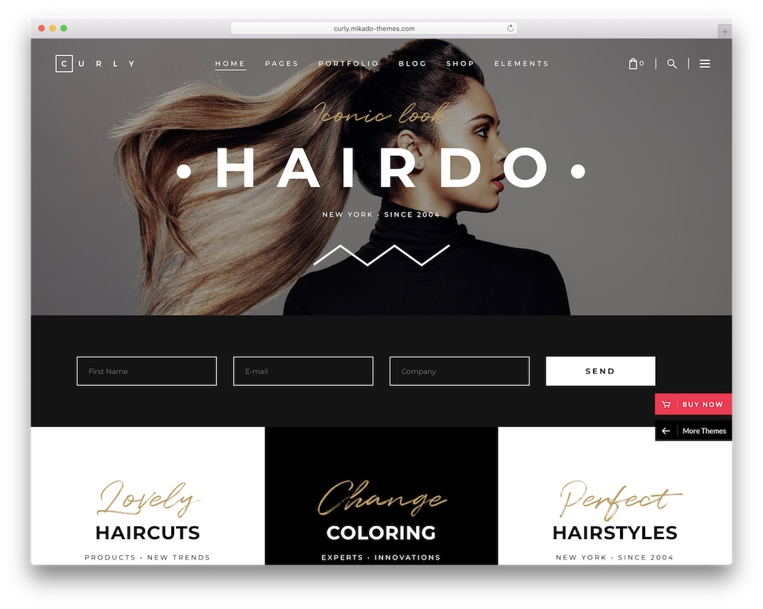 curly hair salon wordpress theme
