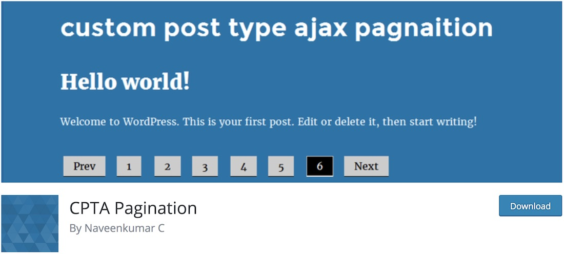 custom post type ajax pagination wordpress plugin