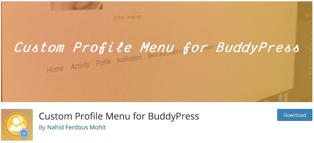custom profile menu buddypress plugin