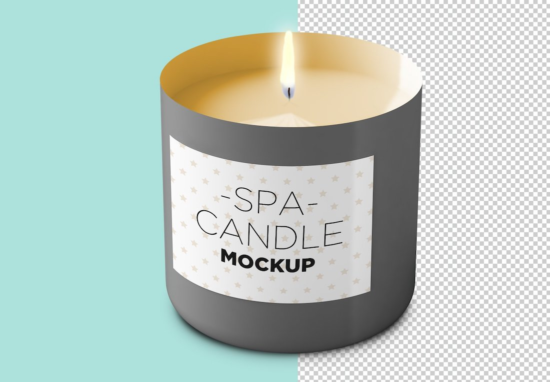 customizable candle psd mockup