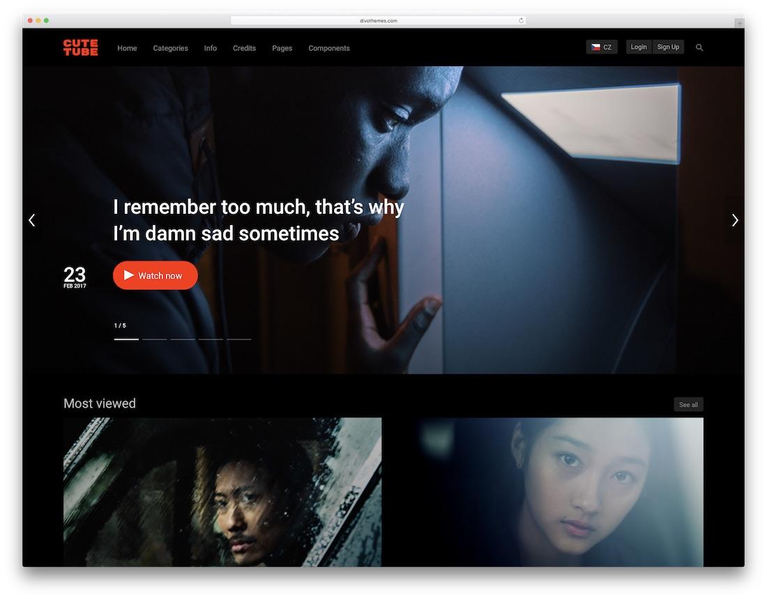 cutetube video website template