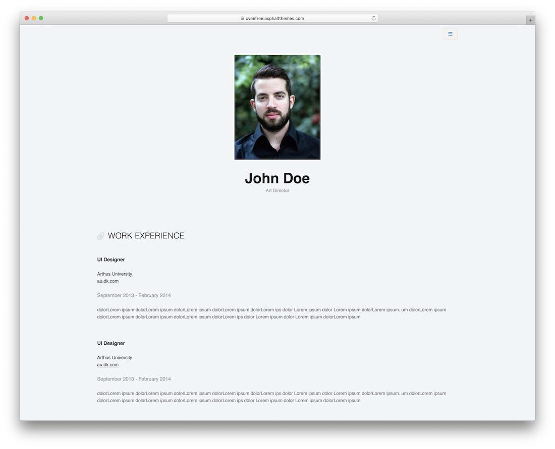 cvee free personal wordpress theme