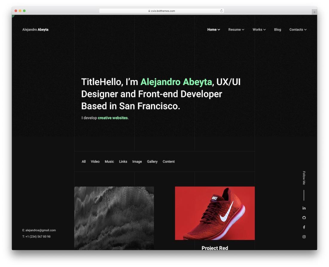 cvio dark wordpress theme