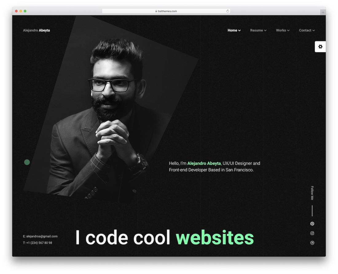 cvio resume website template