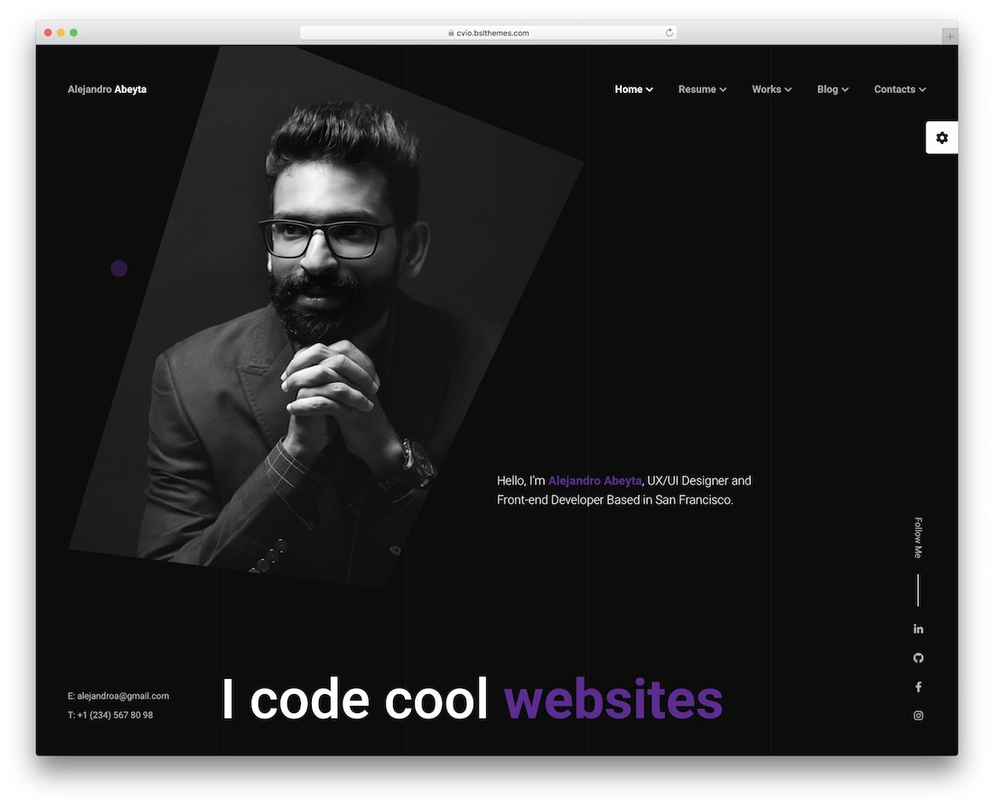 cvio resume wordpress theme