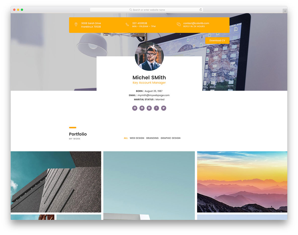 30 Free Personal Website Templates To Boost Your Brand 2020 Colorlib