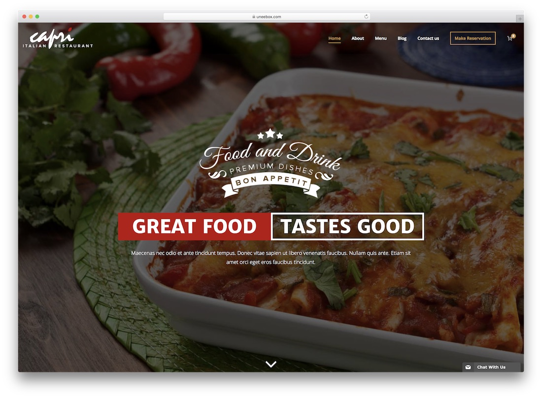 czar responsive catering wordpress theme