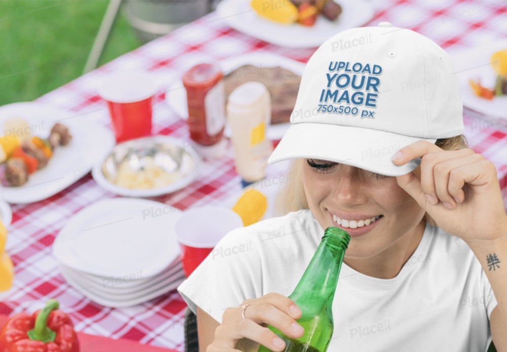 dad hat mockup of a woman at a barbecue party