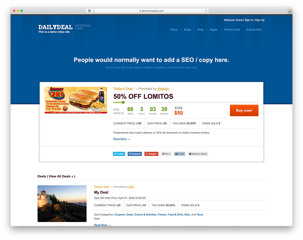 daily deals WordPress theme