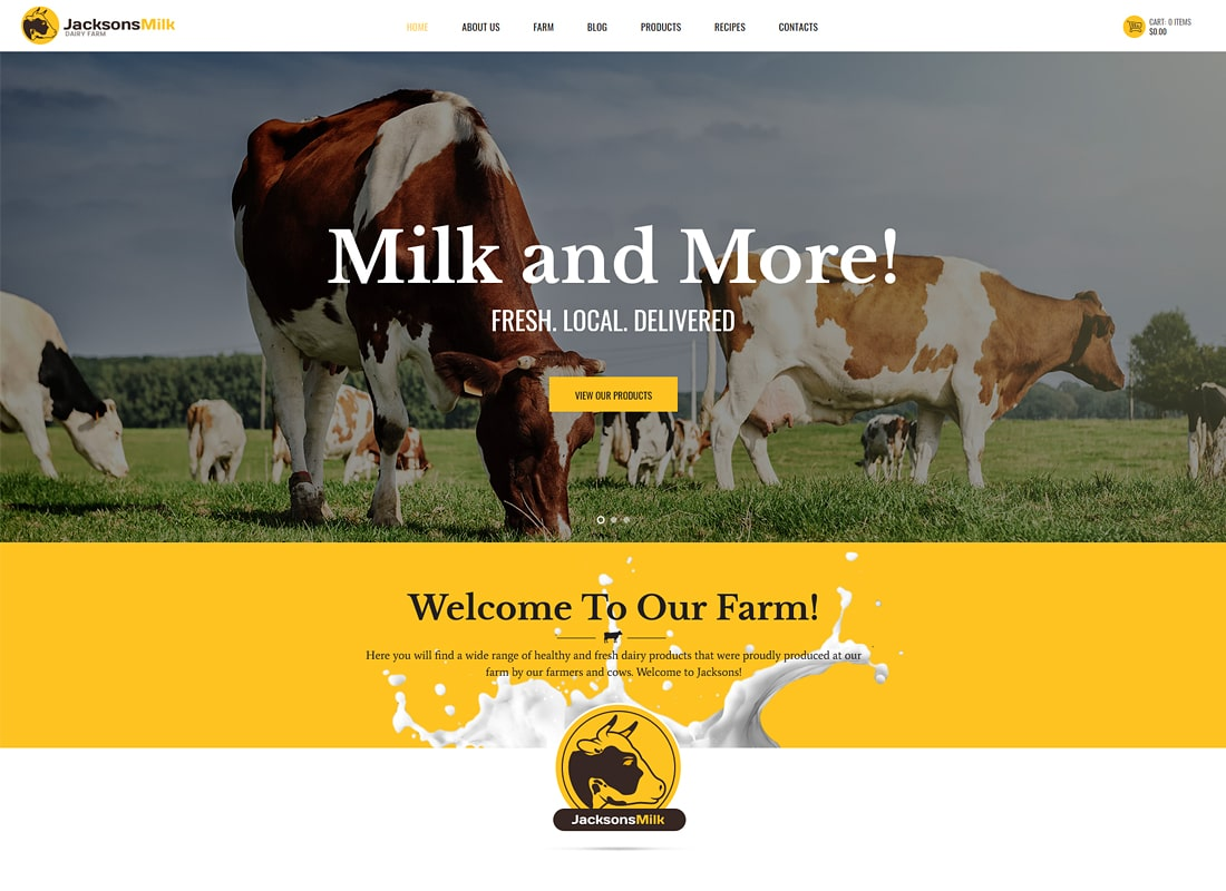 JacksonsMilk | Dairy Farm & Eco Products WordPress Theme