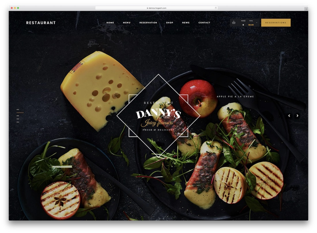 dannys restaurant catering wordpress theme