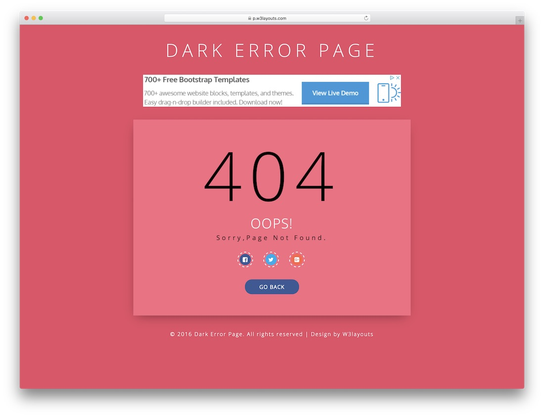 dark free 404 error page template