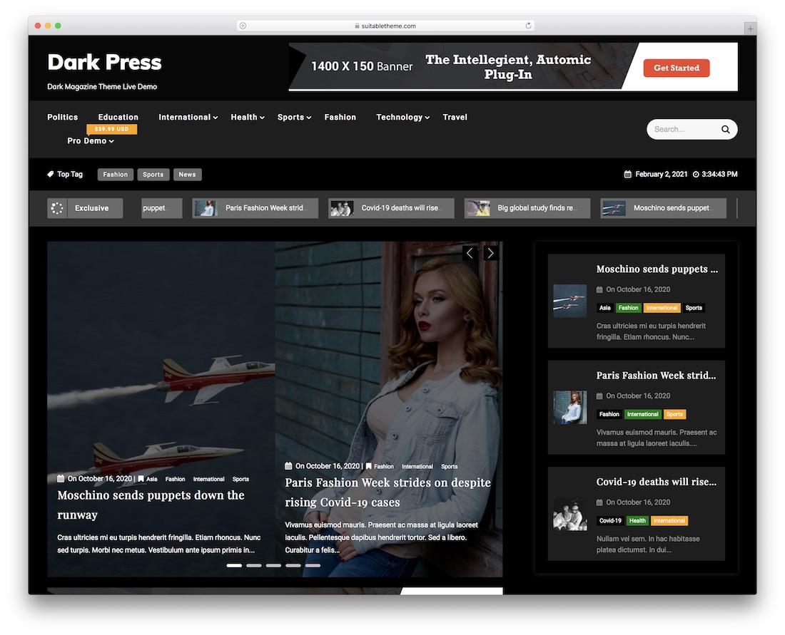 dark press free news wordpress theme