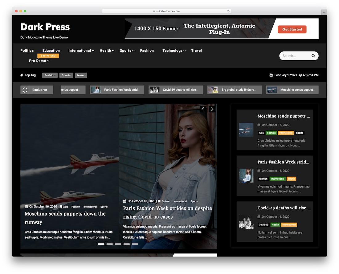 dark press free wordpress theme
