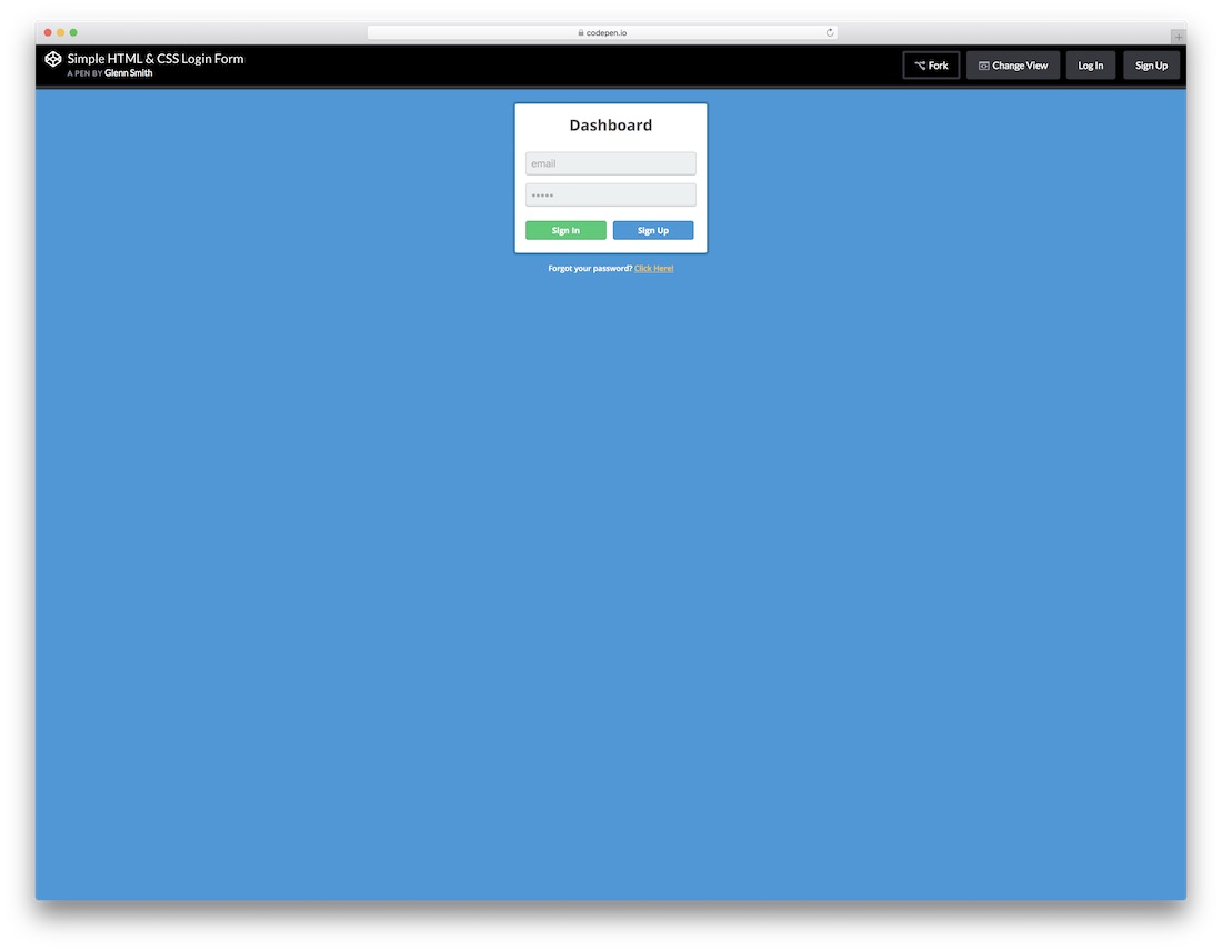 dashboard css3 html5 login form