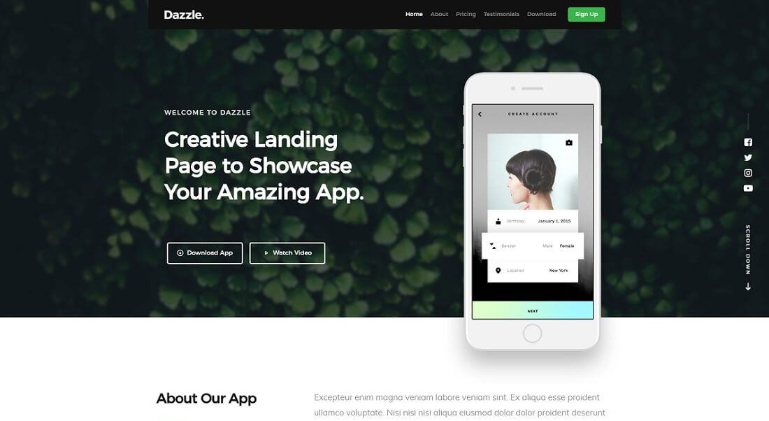 dazzle free HTML website template