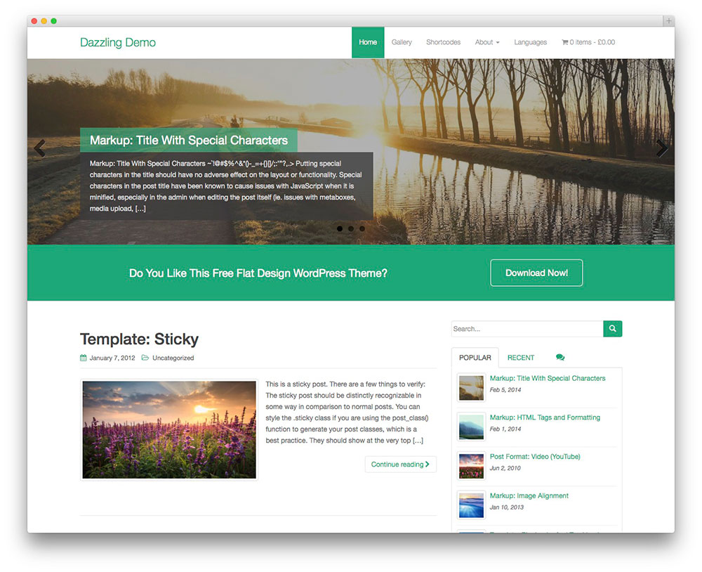 dazzling free business wordpress theme