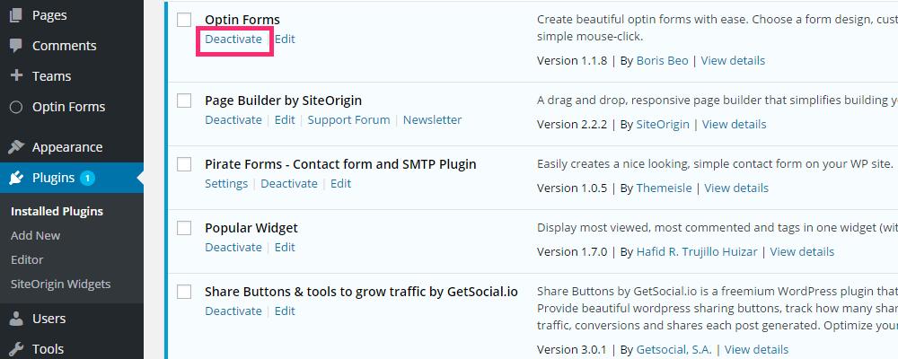 deactivate plugins.