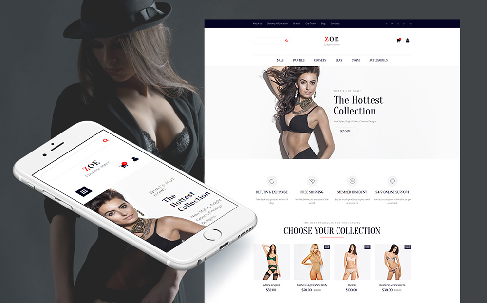 Zoe Fashion Responsive MotoCMS Ecommerce Template