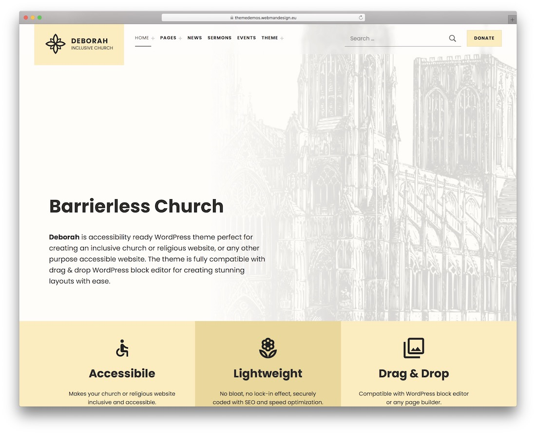 deborah church wordpress theme