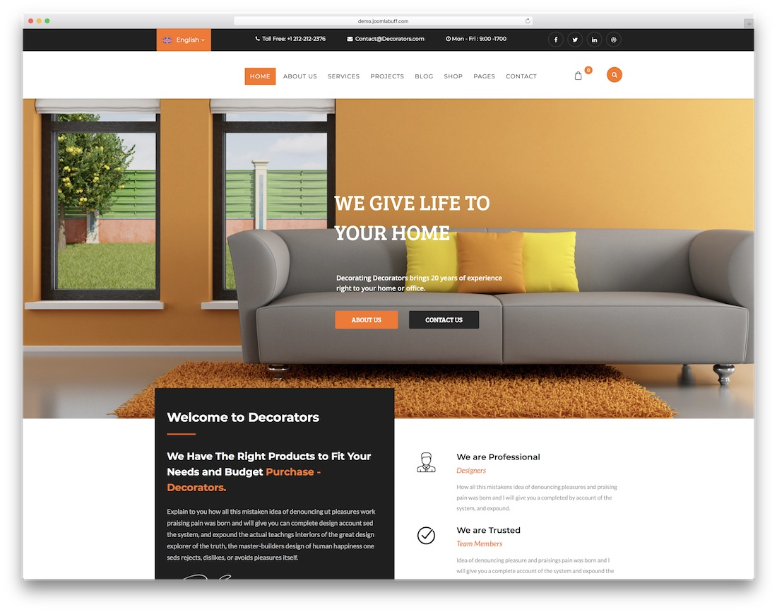 decorators joomla business template