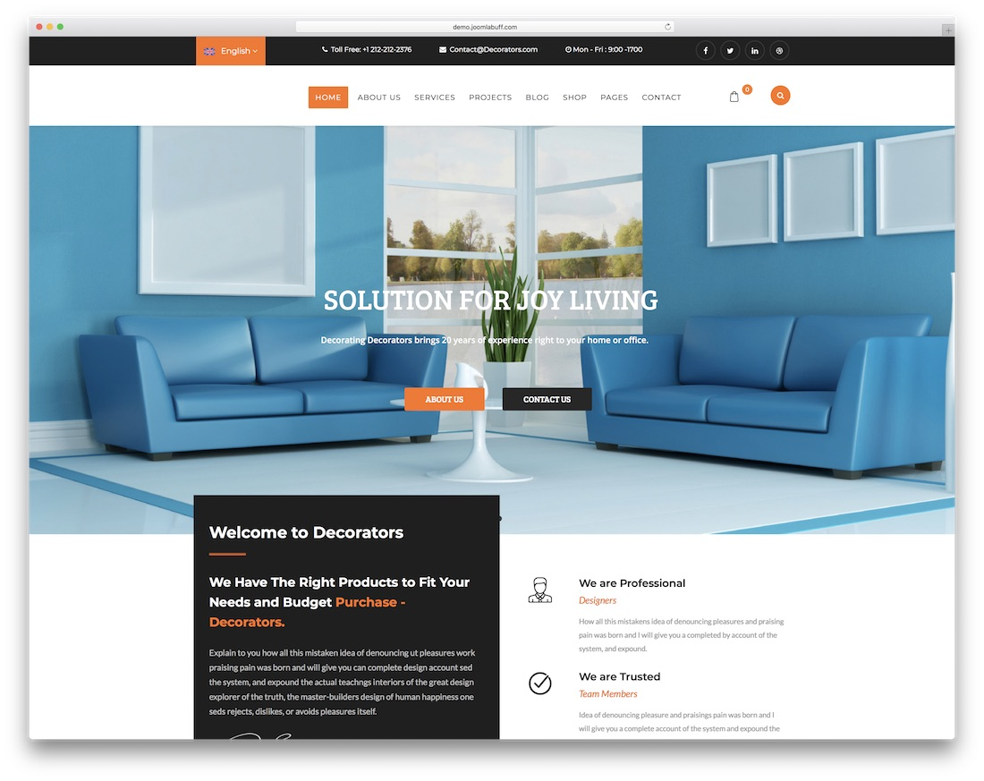 decorators joomla portfolio template