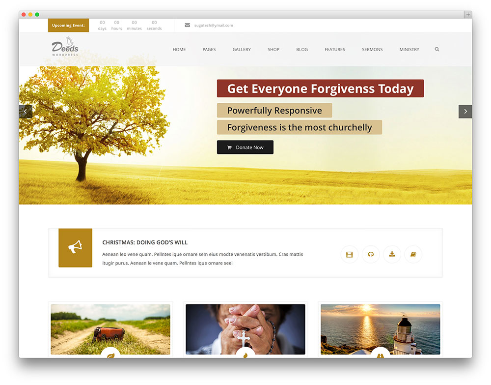 deeds - clean church WordPress theme