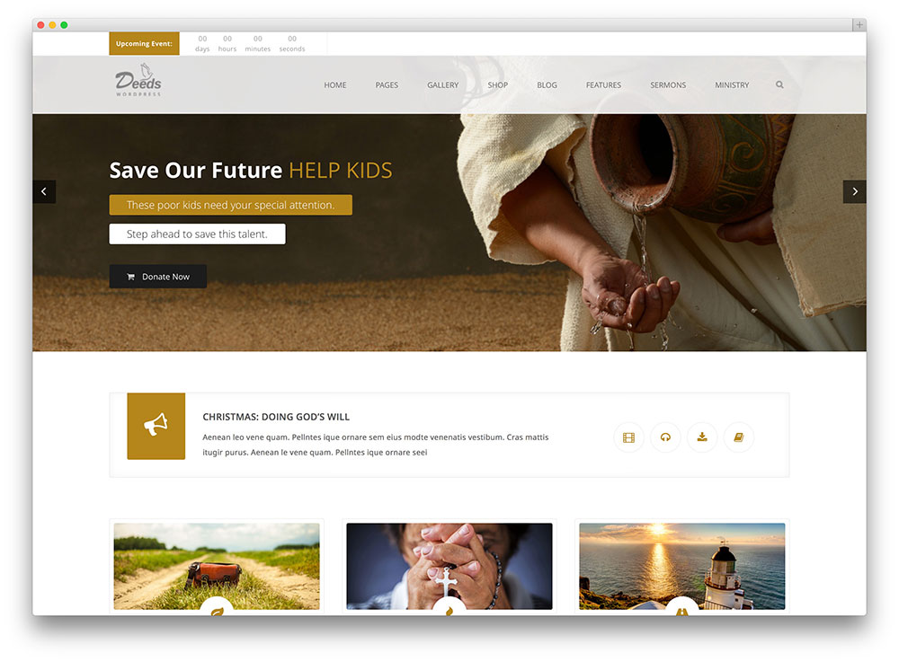 deeds clean church wordpress theme