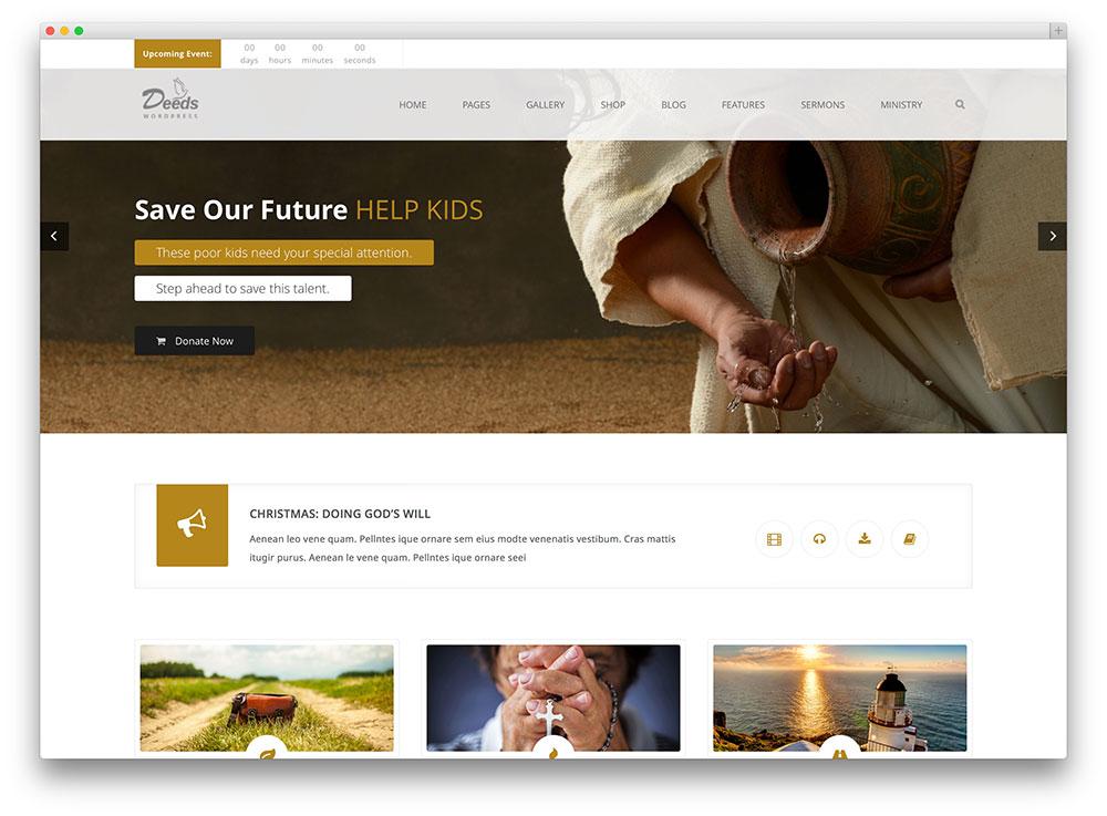 Deeds Clean Church Wordpress Theme   Church Website Design Ideas
