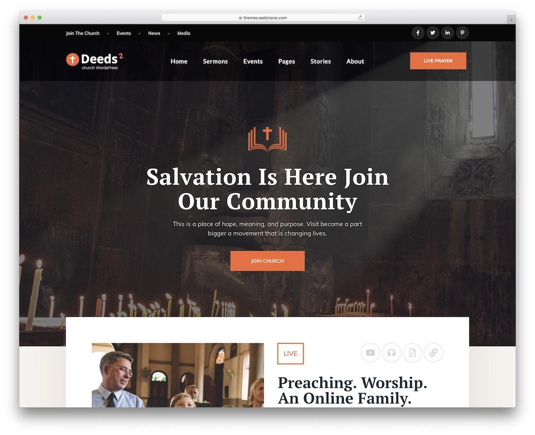 deeds2 church wordpress theme